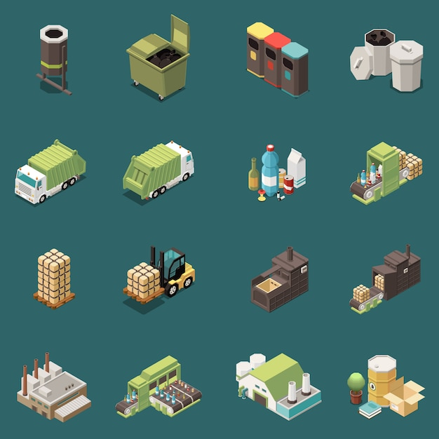 Conjunto de iconos de reciclaje de basura isométrica aislado con cestas de residuos de bolsas de reciclaje separadas y diferentes ilustraciones de fábrica vector gratuito