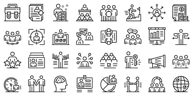 Conjunto de iconos de reclutador, estilo de contorno Vector Premium