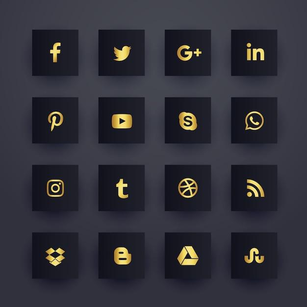 Conjunto de iconos de redes de medios sociales oscuros premium vector gratuito