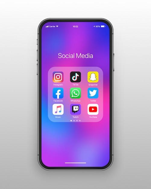 Conjunto de iconos de redes sociales de carpeta de teléfono inteligente Vector Premium
