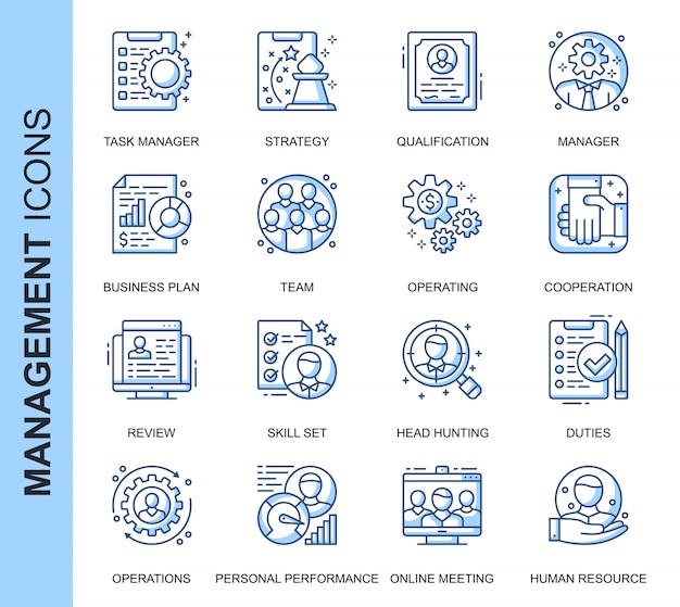 Conjunto de iconos relacionados con la gestión de personas de línea delgada Vector Premium