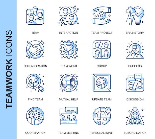 Conjunto de iconos relacionados con el trabajo en equipo de línea delgada Vector Premium