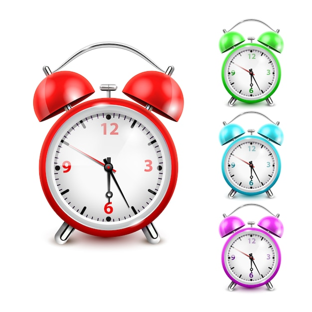 Conjunto de iconos de reloj despertador de color vector gratuito