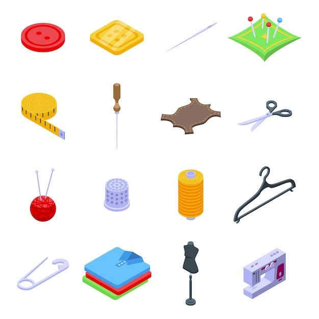 Conjunto de iconos de reparación de ropa. conjunto isométrico de iconos de reparación de ropa para web aislado sobre fondo blanco Vector Premium