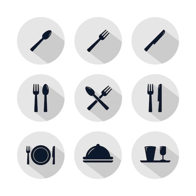 Conjunto de iconos de restaurante aislado en círculo gris. Vector Premium