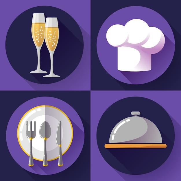 Conjunto de iconos de restaurante cocina y cocina Vector Premium