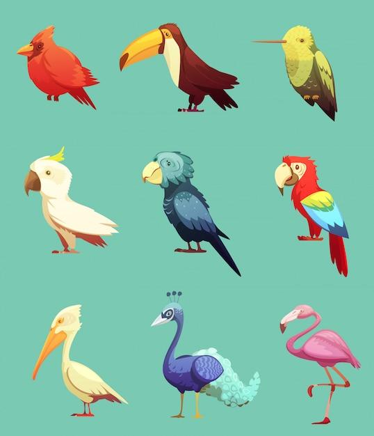Conjunto de iconos retro exóticos pájaros tropicales vector gratuito