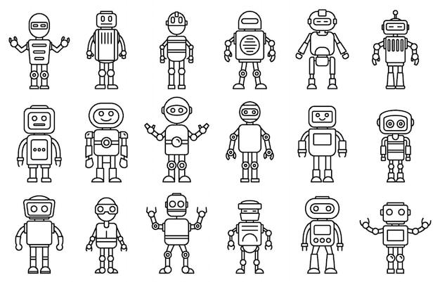 Conjunto de iconos de robot humanoide, estilo de contorno Vector Premium