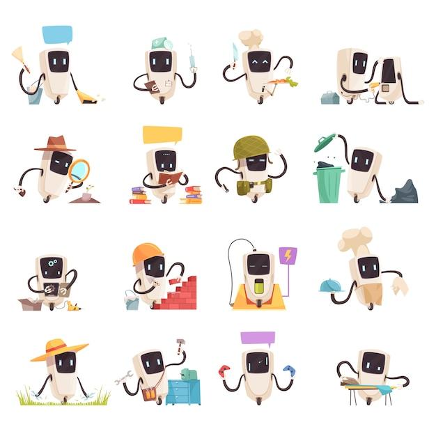 Conjunto de iconos de robots de inteligencia artificial vector gratuito