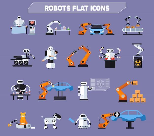 Conjunto de iconos de robots vector gratuito
