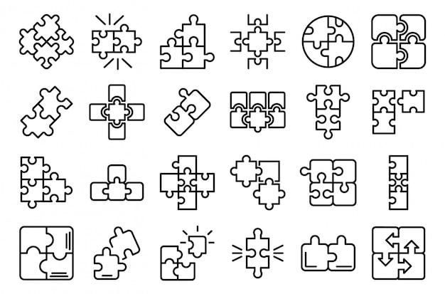 Conjunto de iconos de rompecabezas, estilo de contorno Vector Premium