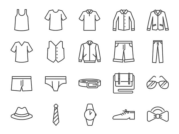 Conjunto de iconos de ropa de hombres. Vector Premium