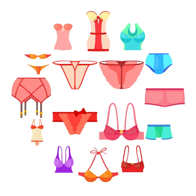 Conjunto de iconos de ropa interior color, estilo de dibujos animados Vector Premium