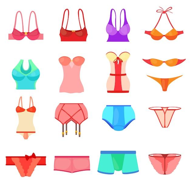 Conjunto de iconos de ropa interior color Vector Premium