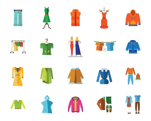 Conjunto de iconos de ropa y moda vector gratuito