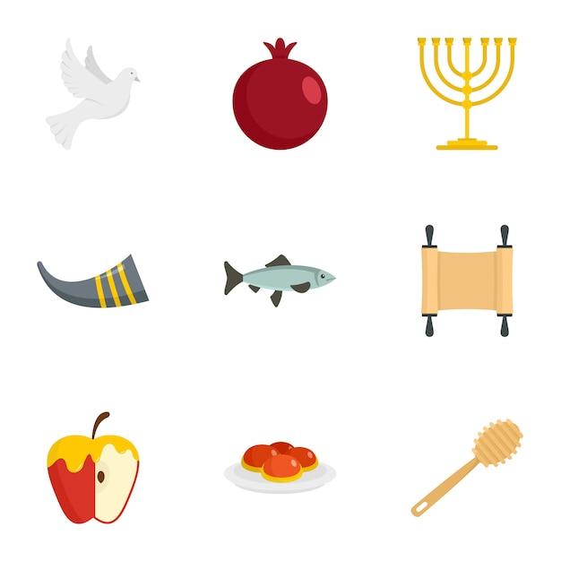 Conjunto de iconos de rosh hashaná. conjunto plano de 9 iconos de vector de rosh hashanah Vector Premium