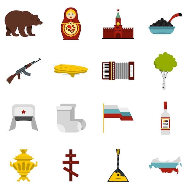 Conjunto de iconos de rusia Vector Premium