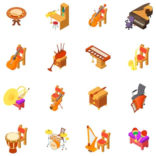 Conjunto de iconos de la sala de música Vector Premium