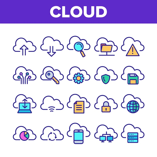 Conjunto de iconos de señal de servicio en la nube Vector Premium