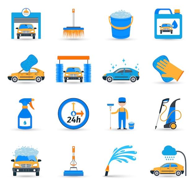 Conjunto de iconos de servicio de lavado de coches vector gratuito