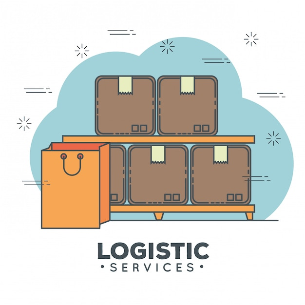 Conjunto de iconos de servicios logísticos vector gratuito