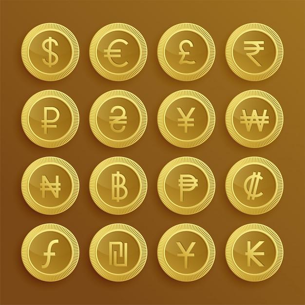 Conjunto de iconos y símbolos de moneda dolden vector gratuito