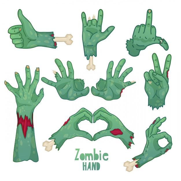 Conjunto de iconos, símbolos, pin con manos de zombie de dibujos animados colección de gestos de manos de zombie muerto Vector Premium