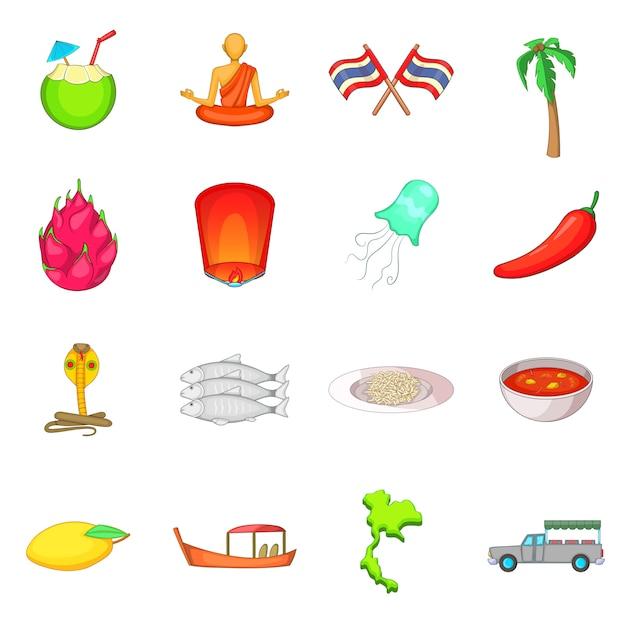 Conjunto de iconos de símbolos de tailandia Vector Premium