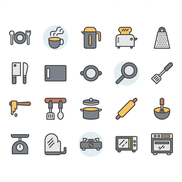 Conjunto de iconos y símbolos de utensilios de cocina Vector Premium