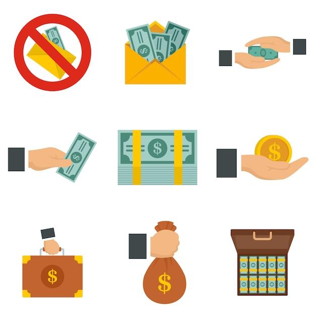 Conjunto de iconos de soborno Vector Premium