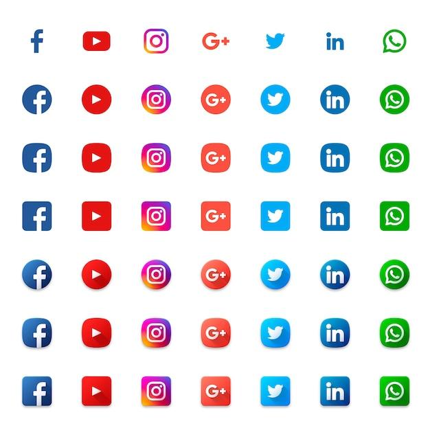 Conjunto de iconos sociales Vector Premium