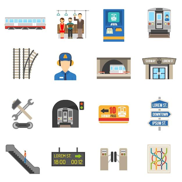 Conjunto de iconos subterráneos vector gratuito