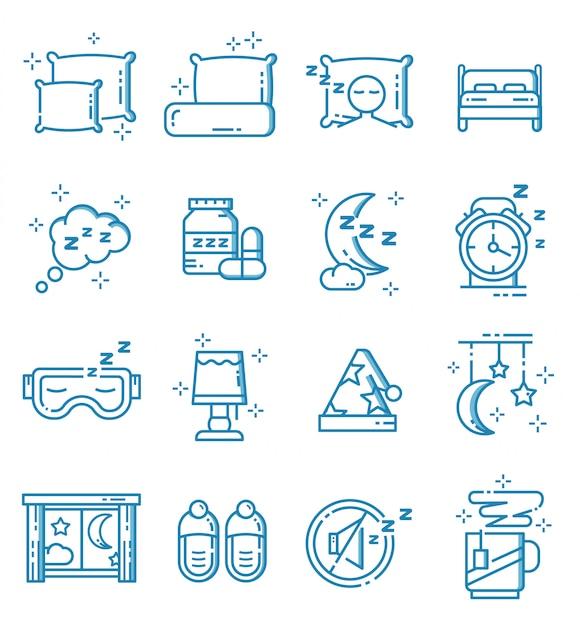 Conjunto de iconos de sueño con estilo de contorno Vector Premium