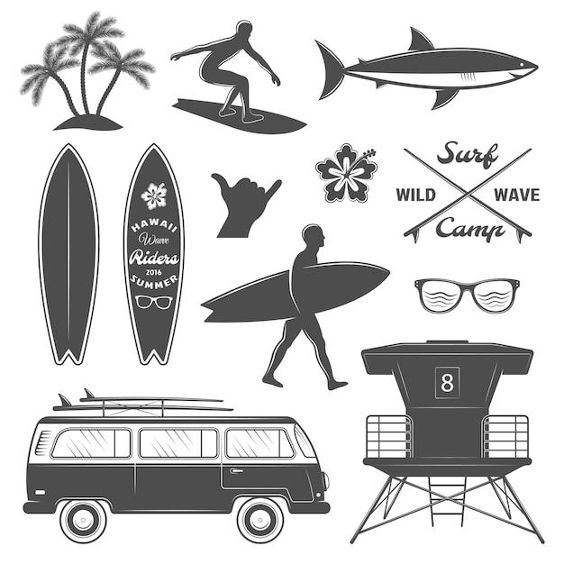 Conjunto de iconos de surf vector gratuito