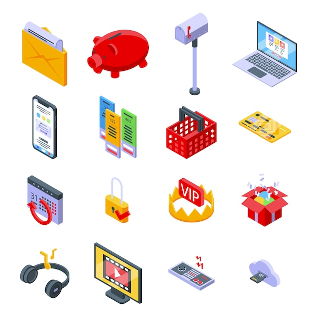 Conjunto de iconos de suscripción. conjunto isométrico de iconos de vector de suscripción para diseño web aislado en espacio en blanco Vector Premium
