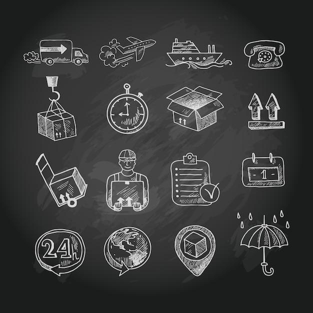 Conjunto de iconos de tablero de tiza logística vector gratuito