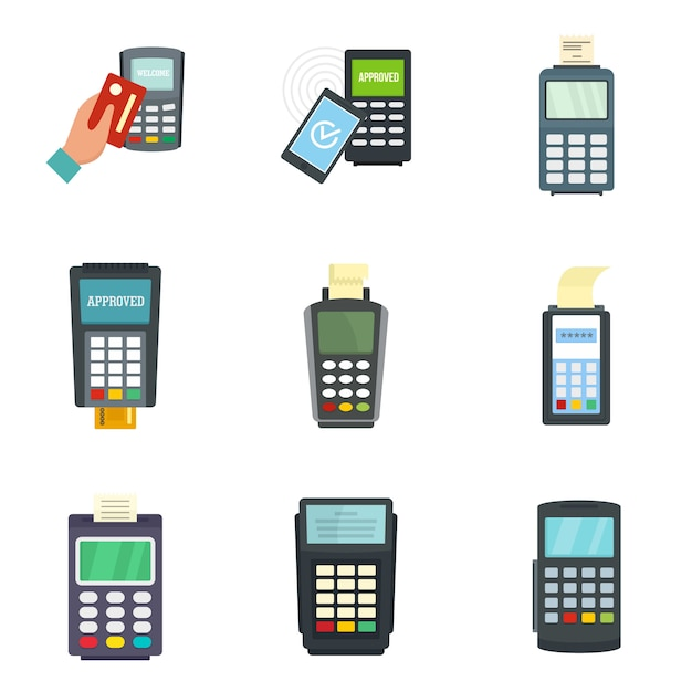 Conjunto de iconos de tarjeta de crédito terminal de banco Vector Premium
