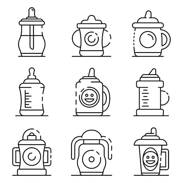 Conjunto de iconos de la taza de sippy. esquema conjunto de iconos de vector de taza sippy Vector Premium
