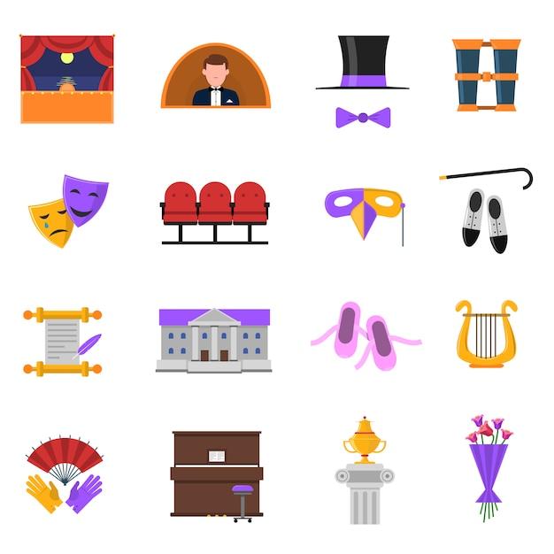 Conjunto de iconos de teatro vector gratuito