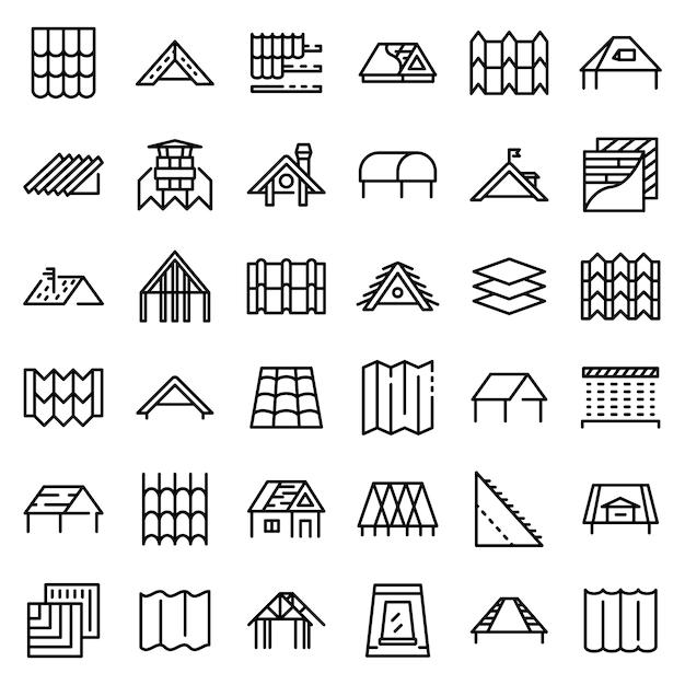 Conjunto de iconos de techo Vector Premium