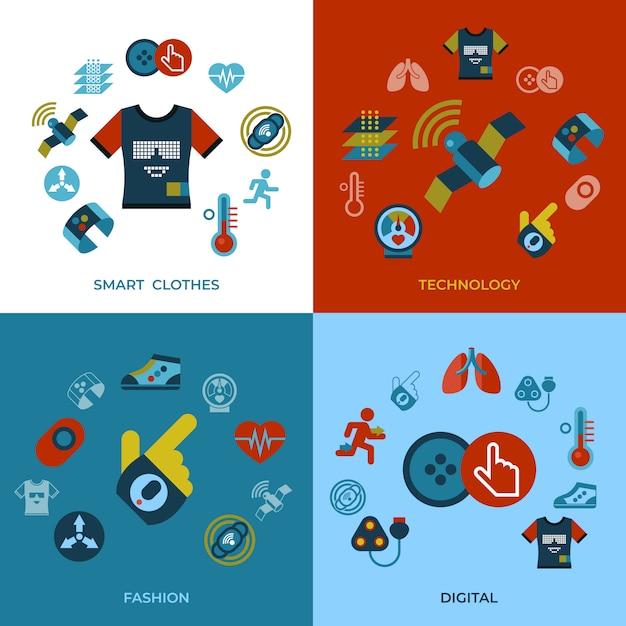 Conjunto de iconos de tecnología ropa inteligente gadget tecnología Vector Premium