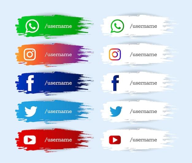 Conjunto de iconos de tercio inferior inferior moderno de redes sociales de acuarela vector gratuito