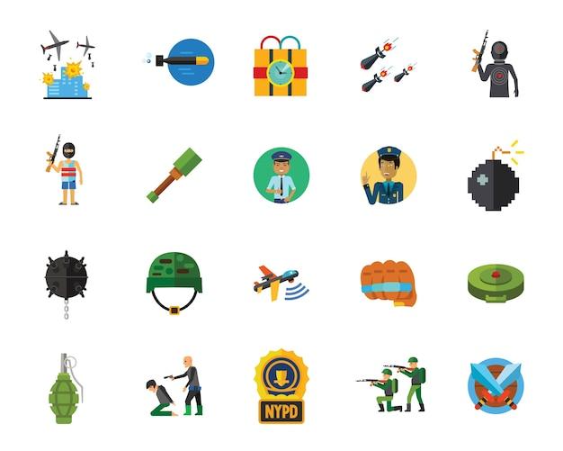 Conjunto de iconos de terror y guerra vector gratuito