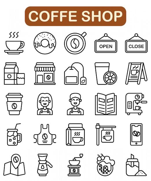 Conjunto de iconos de la tienda de café, estilo de contorno Vector Premium