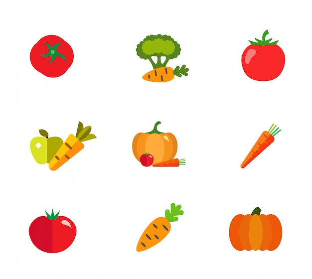 Conjunto de iconos de tienda de comestibles vector gratuito