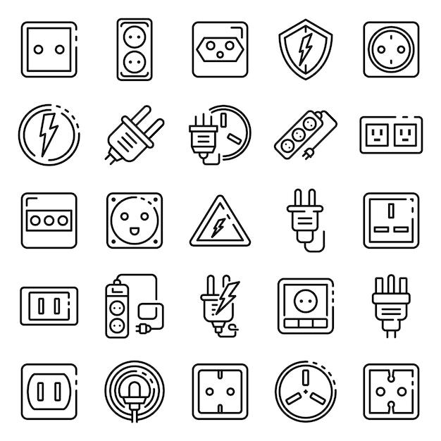 Conjunto de iconos de toma de corriente, estilo de contorno Vector Premium