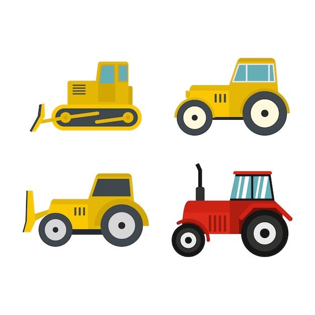 Conjunto de iconos de tractor. conjunto plano de colección de iconos de vector tractor aislado Vector Premium