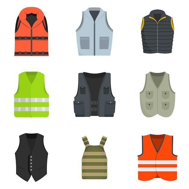 Conjunto de iconos de traje chaleco chaqueta traje vector aislado Vector Premium