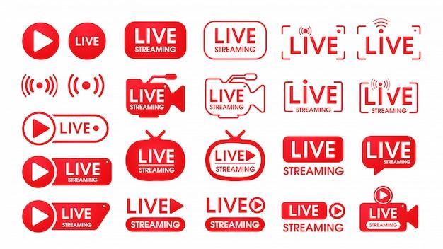 Conjunto de iconos de transmisión en vivo Vector Premium