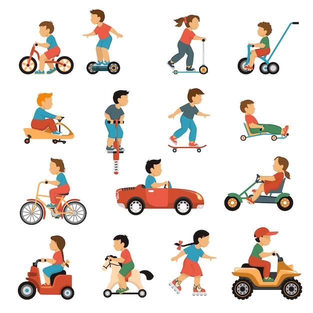 Conjunto de iconos de transporte de niños vector gratuito